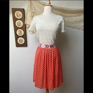 1960's Spring Lace & Polka Dot Dress